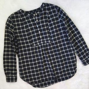 LOFT Blue Plaid Button Up Shirt